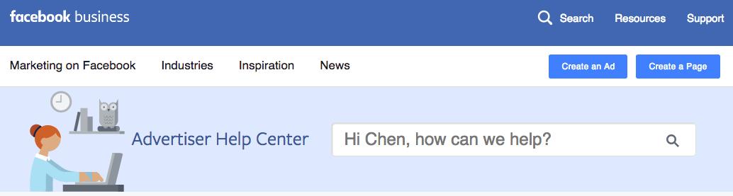 Facebook's help center